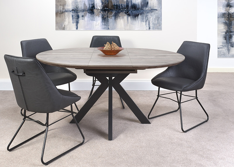 Grey Round Extending Dining Table And, Round Extendable Dining Table And Chairs Uk